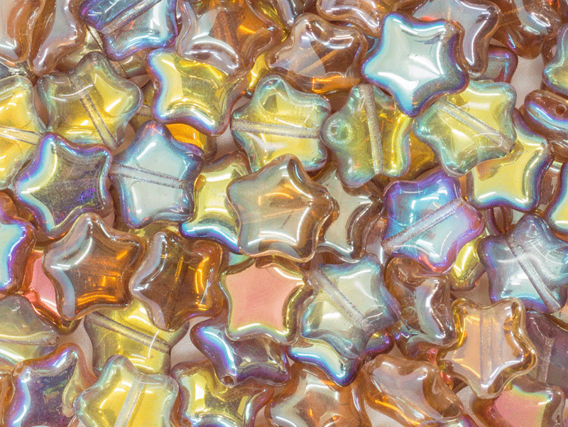 12 pcs Star Beads, 12 mm, Czech Glass, Crystal Brown Rainbow