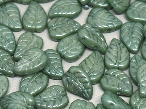 Leaves Beads 7x10 mm, 2 Holes, Chalk White Teal Luster, Czech Glass