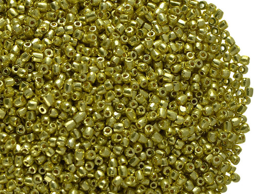 10 g 12/0 3-Cut Seed Beads Preciosa Ornela, Light Gold Metallic, Czech Glass