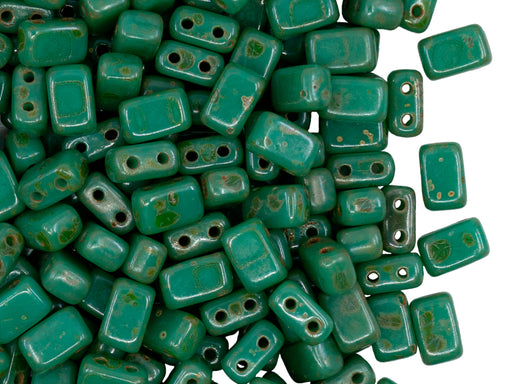 Brick Beads 4.5x3x6.5 mm, 2 Holes, Opaque Green Travertine, Czech Glass