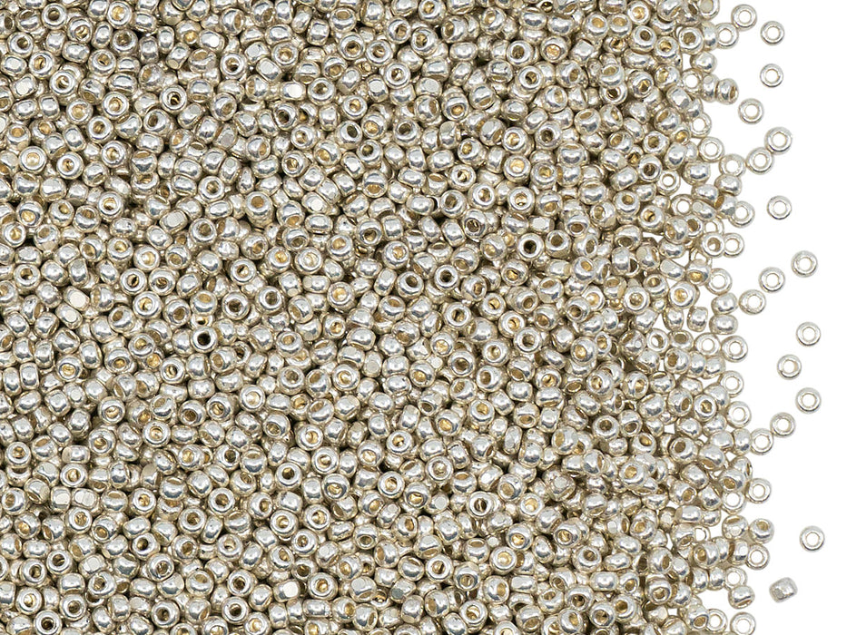 10 g 13/0 Seed Beads Preciosa Ornela, Charlotte Light Silver Metallic, Czech Glass