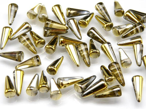 12 pcs Spike Pressed Beads, 13x5mm, Crystal Amber, Czech Glass