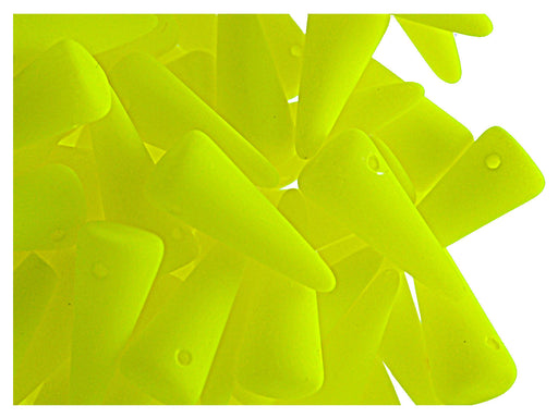 12 pcs Spike NEON Beads, 13x5mm, Yellow, Czech Glass