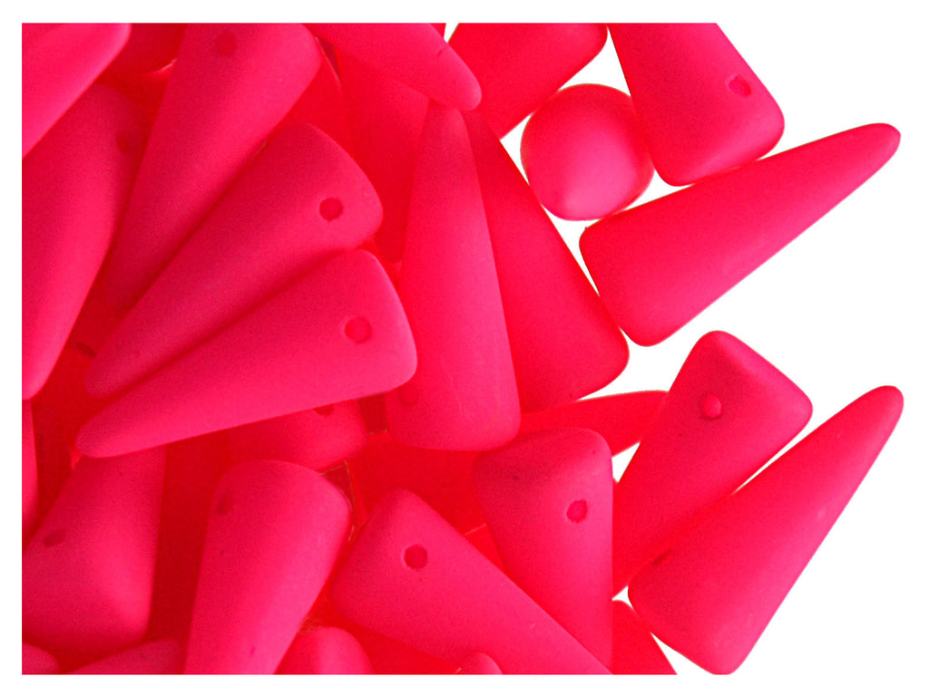 12 pcs Spike NEON Beads, 13x5mm, Pink, Czech Glass
