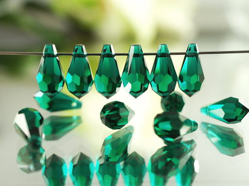 2 pcs Swarovski Elements 6000 Teardrop Pendant, 13x6.5mm, Emerald, Czech Glass