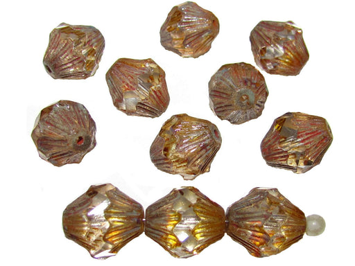 12 pcs Fire Polished Faceted Lantern Baroque Beads, 13x11mm, Crystal Travertine Dark, Czech Glass