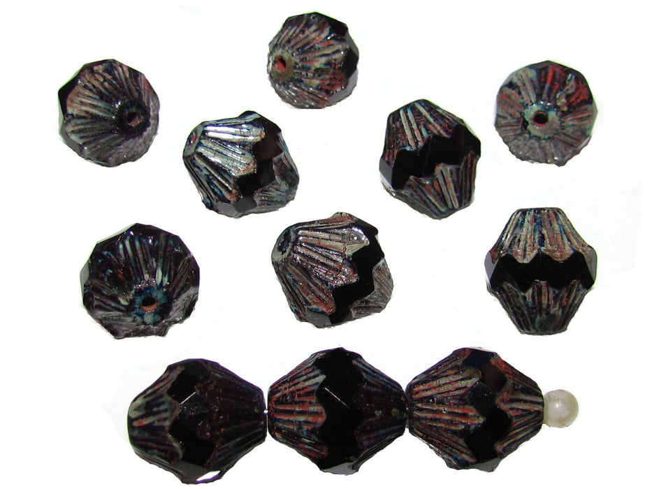 12 pcs Fire Polished Faceted Lantern Baroque Beads, 13x11mm, Jet Black Travertine Dark , Czech Glass