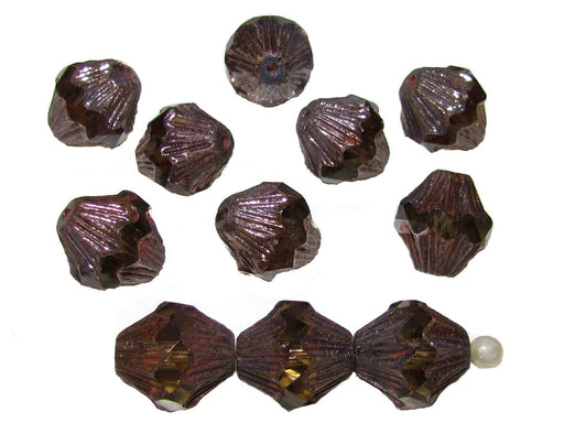 12 pcs Fire Polished Faceted Lantern Baroque Beads, 13x11mm, Smoke Topaz Golden Luster, Czech Glass