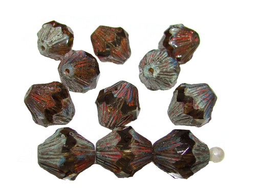 12 pcs Fire Polished Faceted Lantern Baroque Beads, 13x11mm, Smoke Topaz Travertine Dark, Czech Glass