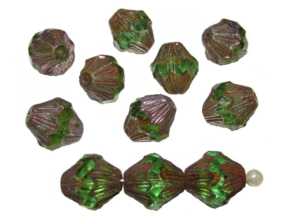 Fire Polished Faceted Lantern Baroque Beads, 13x11mm, Peridot Green Golden Luster, Czech Glass