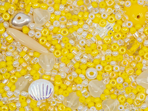 Glass Bead Mix , Yellow Pearl White, Czech Glass