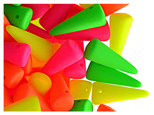 12 pcs Spike NEON Beads 13X5mm, Czech Glass, Mix