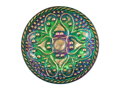 1 pc Czech Glass Button, Green Vitrail Gold Ornament, Hand Painted, Size 14 (32mm)
