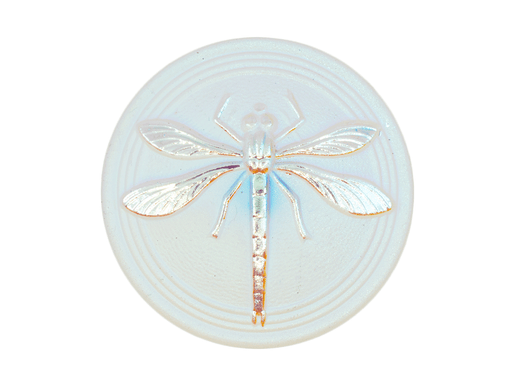 Czech Glass Button, Hand Painted, Size 14 (31.5 mm), Crystal Matte AB Dragonfly, Czech Glass