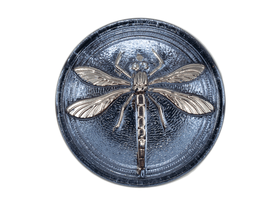 1 pc Czech Glass Cabochon Blue Montana Silver Dragonfly (Smooth Reverse Side), Hand Painted, Size 14 (32mm)