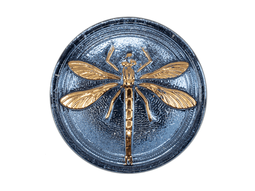1 pc Czech Glass Cabochon Light Blue Gold Dragonfly (Smooth Reverse Side), Hand Painted, Size 14 (32mm)