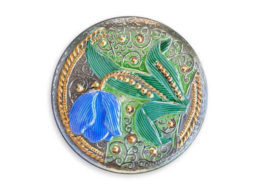 1 pc Czech Glass Button, Tulip, Size 14 (32mm)