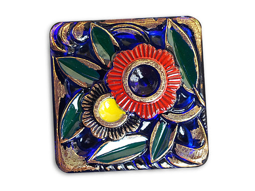 1 pc Czech Glass Button, Square Sapphire Flowers, Hand Painted, Size 14 (32mm)