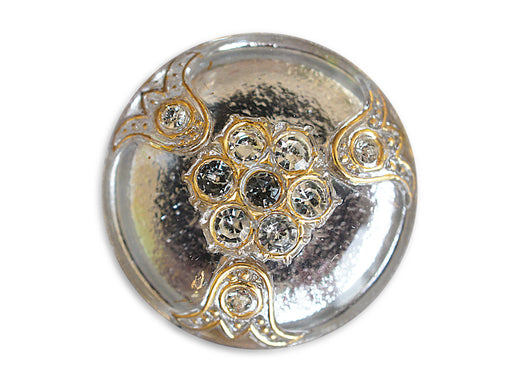 1 pc Czech Glass Button, Crystal Gold Ornament with Rhinestones, Hand Painted, Size 14 (32mm)