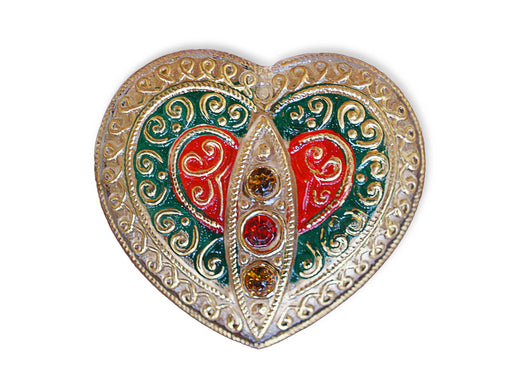 1 pc Czech Glass Button, Heart Gold Ornament with Rhinestones, Hand Painted, Size 14 (32mm)