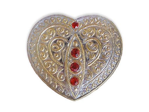 1 pc Czech Glass Button, Heart Gold Ornament with Red Rhinestones, Hand Painted, Size 14 (32mm)