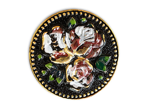 1 pc Czech Glass Button, Black Gold with Flowers, Hand Painted, Size 14 (32mm)