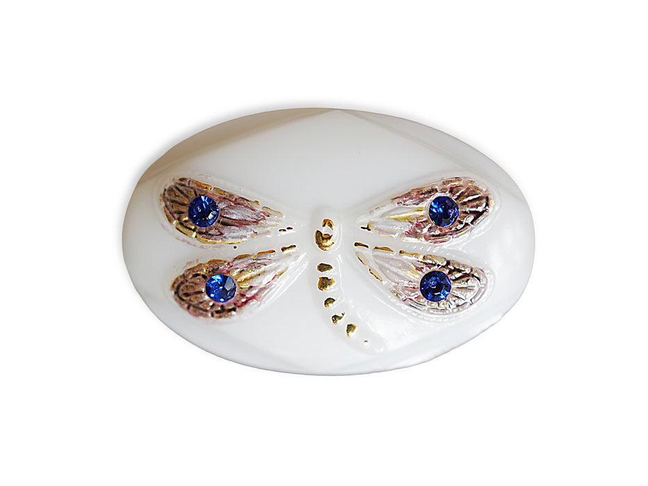 1 pc Czech Glass Button, Oval White with Dragonfly, Hand Painted, Size 14 (32mm)