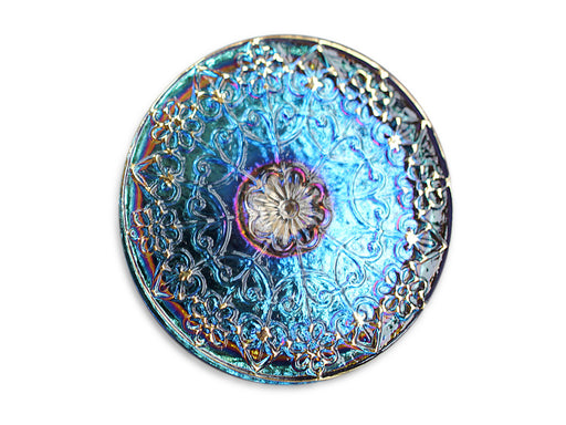 1 pc Czech Glass Button, Blue Vitrail Gold Ornament, Hand Painted, Size 14 (31.5mm)