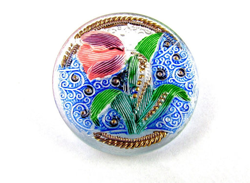 Czech Glass Button Hand Painted, Size 14 (31.5mm | 1 1/4''), Crystal Tulip, Czech Glass