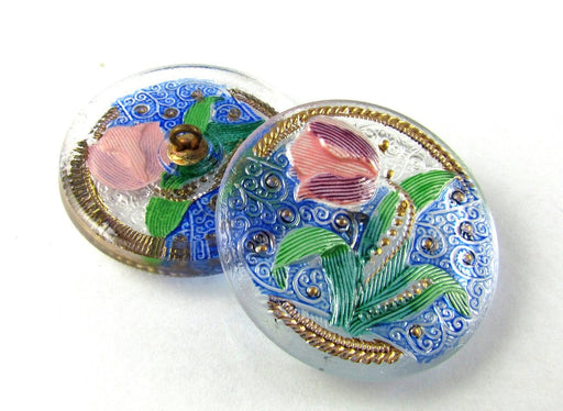 1 pc Czech Glass Button Hand Painted, Size 14 (31.5mm | 1 1/4''), Crystal Tulip, Czech Glass