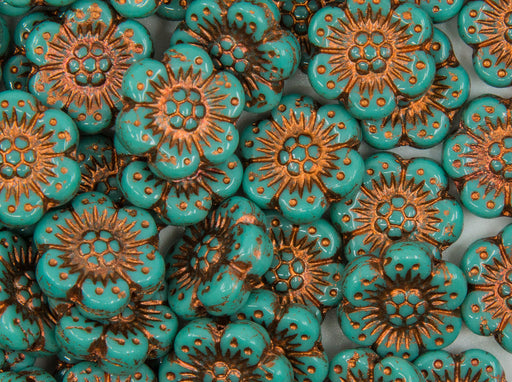 12 pcs Flower Beads, 14mm, Opaque Turquoise Green with Bronze Fired Color, Czech Glass