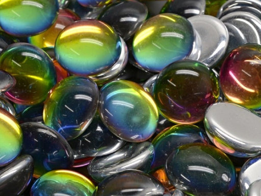Czech Glass Cabochons 14 mm, Crystal Vitrail, Czech Glass