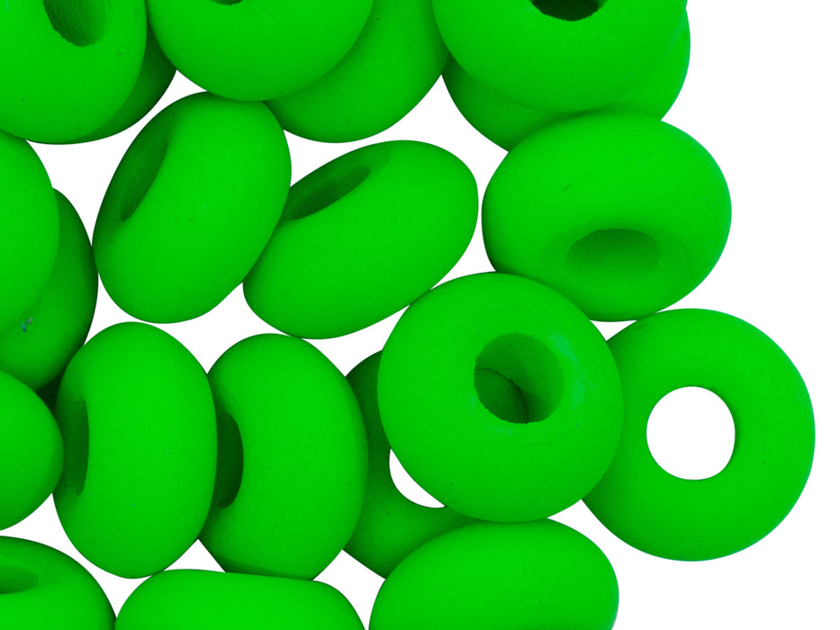 10 pcs Pony NEON Beads, 14x7mm, Green, Czech Glass