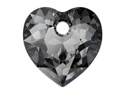 Heart Cut 6432 14.5 mm, Crystal Silver Night Foiled, Swarovski, Austria