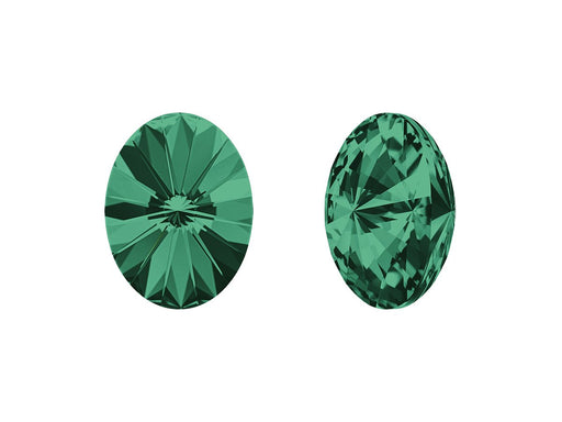 4122 Oval Rivoli Fancy Stone 14x10.5 mm, Emerald Platinum Foiled, Swarovski, Austria