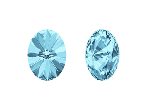 4122 Oval Rivoli Fancy Stone 14x10.5 mm, Aquamarine Platinum Foiled, Swarovski, Austria