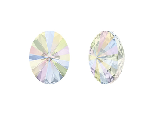 4122 Oval Rivoli Fancy Stone 14x10.5 mm, Crystal AB Platinum Foiled, Swarovski, Austria