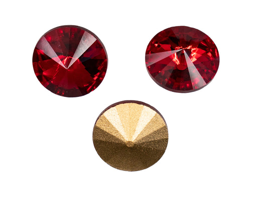 Matubo Rivoli 16 mm, Ruby Gold Foiled, Czech Glass