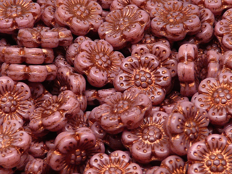 12 pcs Flower Beads, 14mm, Opaque Pink with Bronze Fired Color, Czech Glass