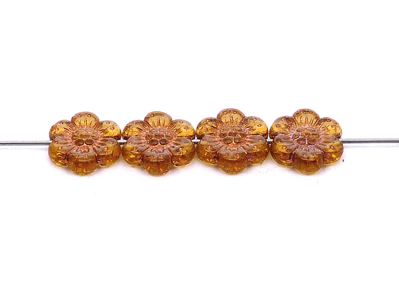 12 pcs Flower Beads, 14mm, Topaz with Bronze Fired Color, Czech Glass