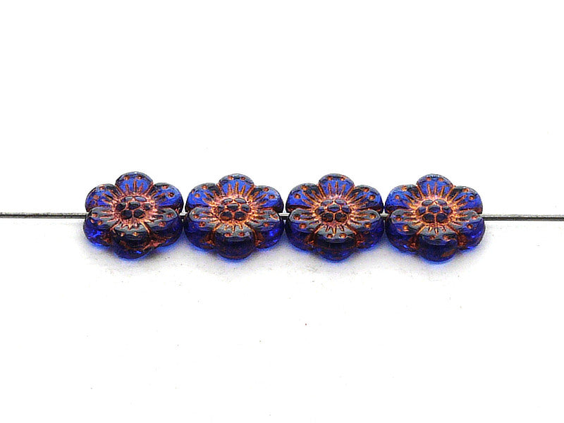 12 pcs Flower Beads, 14mm, Sapphire with Bronze Fired Color, Czech Glass