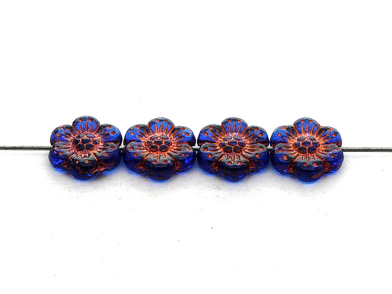 12 pcs Flower Beads, 14mm, Blue Transparent with Bronze Fired Color, Czech Glass