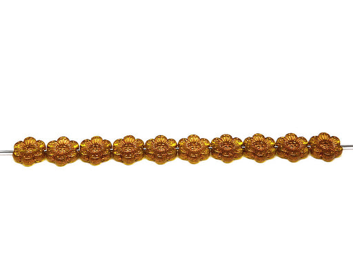 12 pcs Flower Beads, 14mm, Amber with Bronze Fired Color, Czech Glass