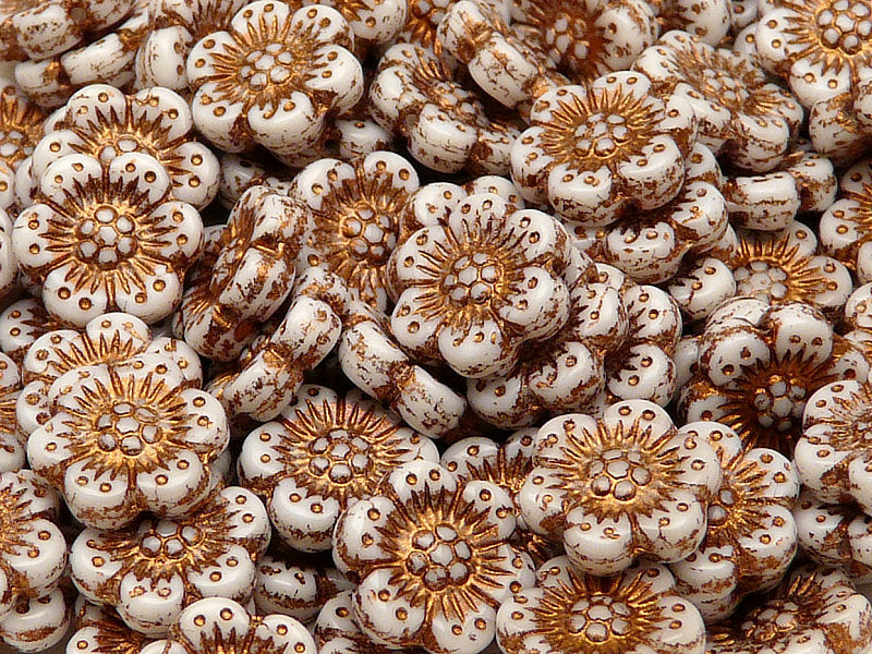 12 pcs Flower Beads, 14mm, Chalk White with Bronze Fired Color, Czech Glass