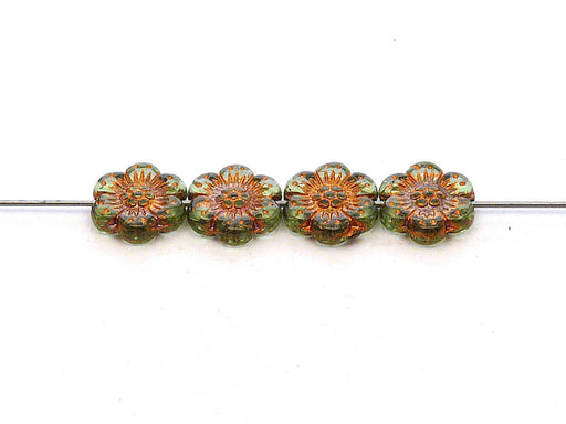 12 pcs Flower Beads, 14mm, Green Peridot with Bronze Fired Color, Czech Glass