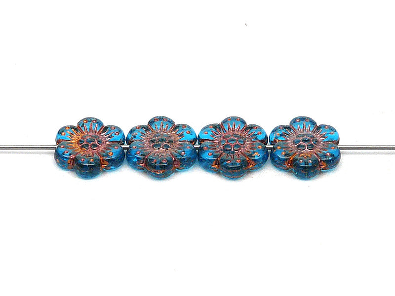 12 pcs Flower Beads, 14mm, Aquamarine with Bronze Fired Color, Czech Glass