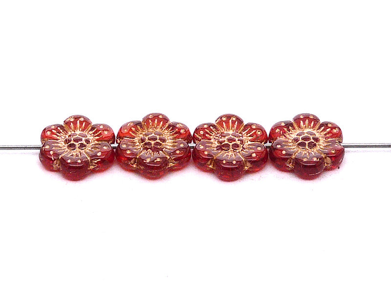 12 pcs Flower Beads, 14mm, Crystal Matte with Bronze Fired Color, Czech Glass
