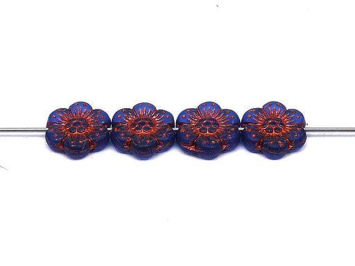 12 pcs Flower Beads, 14mm, Blue Transparent Matte with Bronze Fired Color, Czech Glass