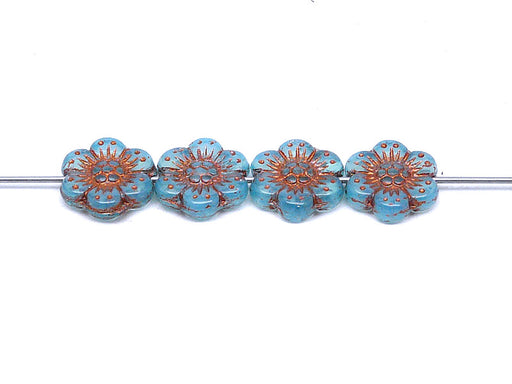 12 pcs Flower Beads, 14mm, Opal Aqua with Bronze Fired Color, Czech Glass