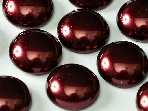 10 pcs Cabochon, 14mm, Pearl Garnet, Czech Glass